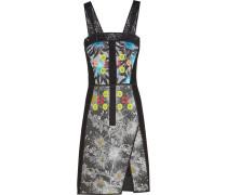 Organza-trimmed Embellished Jacquard And Crepe Dress Schwarz