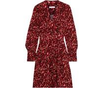 Jenesse Wrap-effect Leopard-jacquard Mini Wrap Dress