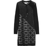 Riviera Lace-paneled Crochet-knit Mini Dress Schwarz