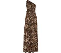 One-shoulder leopard-print silk-chiffon gown