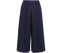 Pleiades pleated linen-chambray culottes