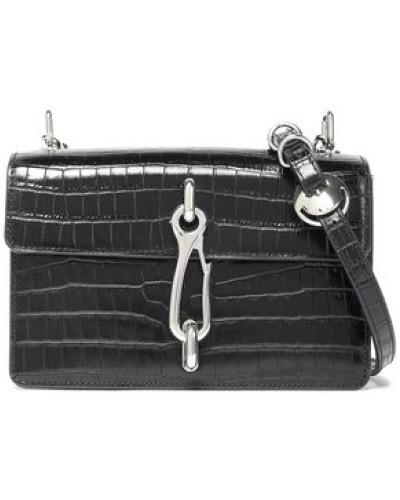 Woman Chain-embellished Croc-effect Leather Shoulder Bag Black