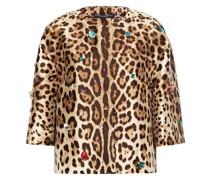 Embellished Leopard-print Silk And Wool-blend Crepe Jacket