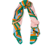 Printed Cotton And Silk-blend Scarf Mehrfarbig