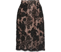 Embellished Embroidered Lace And Cotton-blend Pencil Skirt Schwarz