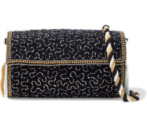 Woman Wolvy Bead-embellished Cotton-velvet Clutch Black