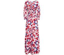 Shirred Floral-print Cotton-gauze Maxi Dress
