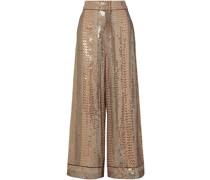 Platinum Sequin-embellished Chiffon Wide-leg Pants