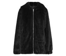 Woman Oversized Faux Fur Hooded Jacket Black