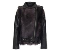 Aurora Shearling-paneled Leather Biker Jacket
