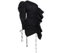 Gerafftes Minikleid aus Moiré mit Asymmetrischer Schulterpartie