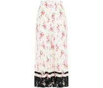 Cropped Hose mit Weitem Bein aus Crêpe mit Floralem Print