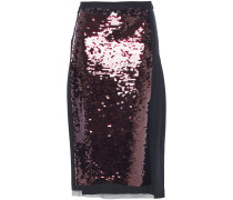 Wrap-effect Sequined Tulle And Silk Crepe De Chine Midi Skirt