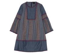 Embroidered Cotton-chambray Mini Dress Rauchblau