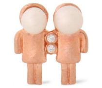 Gemini rose gold-plated, faux pearl and cubic zirconia earring