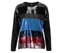 Color-block Sequined Silk And Cotton Top Mehrfarbig