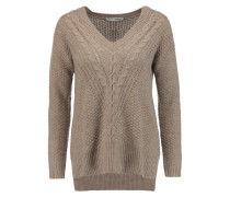 Pointelle-trimmed Knitted Sweater Taupe