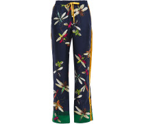 Woman Ettore Printed Silk-twill Wide-leg Pants Navy
