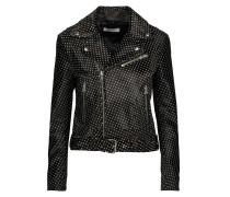 Alpha Printed Calf Hair-effect Leather Biker Jacket Dunkelbraun