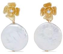 Vergoldete Ohrringe mit Perlen und Kristallen