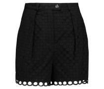 Broderie Anglaise Cotton Shorts Schwarz