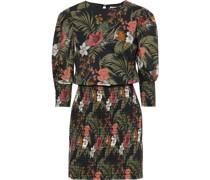 Geneva Shirred Floral-print Cotton-broadcloth Mini Dress