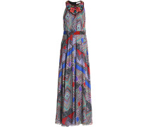 Wrap-effect Printed Silk-chiffon Gown