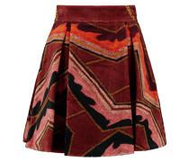 Pleated Velvet Mini Skirt Burgunder