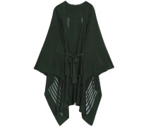 Belted ribbed-knit cape