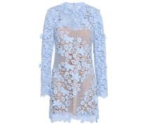Woman Floral-appliquéd Guipure Lace Mini Dress Azure