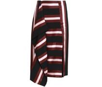 Draped Striped Twill Skirt