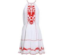 Embroidered Cotton-gauze Mini Dress