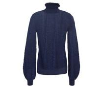 Pullover aus Pointelle-strick in Metallic-optik mit Rüschenbesatz
