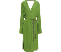 Wrap-effect Tassel-trimmed Cady Dress
