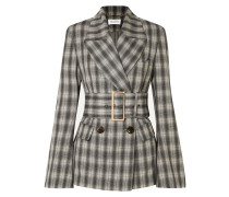 Jaclyn Belted Double-breasted Checked Crepe Blazer