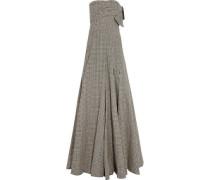 Strapless polka-dot cotton-blend gown
