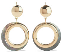 -plated Faux Shell Hoop Earrings
