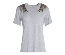 Metallic embroidered modal-jersey T-shirt