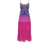 Veronica Pleated Printed Silk Crepe De Chine Midi Slip Dress