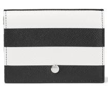 Striped Textured-leather Cardholder Schwarz