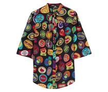 Bedruckte Bluse aus Voile mit Bindedetail