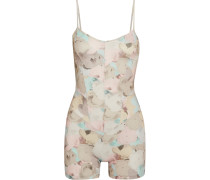 Floral-print Stretch-supplex Playsuit Puder