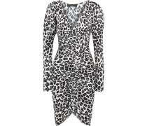 Colette Ruched Leopard-print Silk-blend Satin Dress