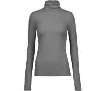 Centro Ribbed Stretch-cotton Turtleneck Sweater Grau