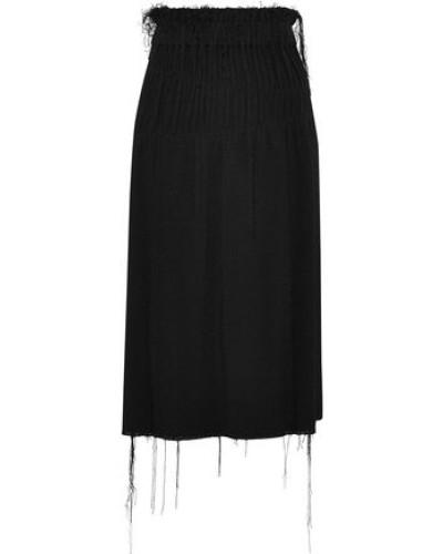 Shirred Bouclé Midi Skirt Black