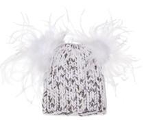 Mimi Feather-embellished Metallic Marled Wool-blend Beanie
