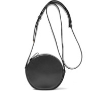 Circle smooth and patent-leather shoulder bag
