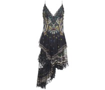 Maternal Instinct Asymmetric Tiered Embellished Printed Silk-chiffon Slip Dress