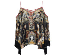 Woman Cold-shoulder Crystal-embellished Printed Silk Crepe De Chine Top Midnight Blue
