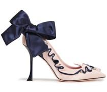 Viv Couture Bow-embellished Satin Pumps